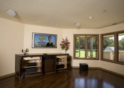 Wall Mounted TV with Directional In-Ceiling Speakers