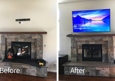75″ TV Above Fireplace