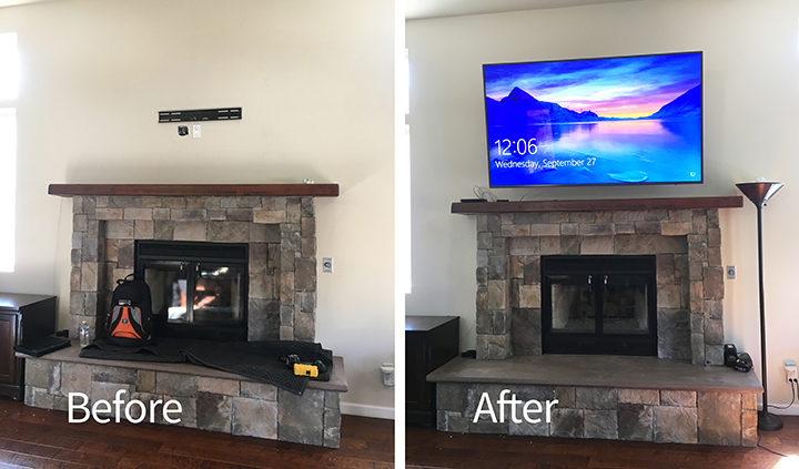 75 Tv Mounted Above A Fireplace